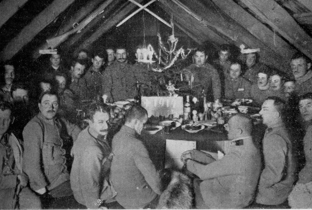 New Year's Eve party of Polish Legion 2nd Brigade, Carpathian Mountains, 1914. Public domain.