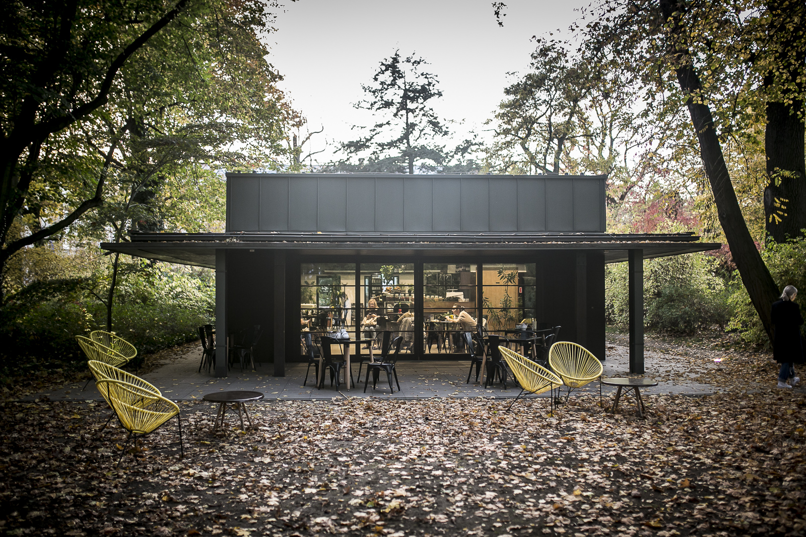 A photograph showing a single-storey building in a park, with fallen autumn leaves around it. Deck-chairs in front of the pavilion.