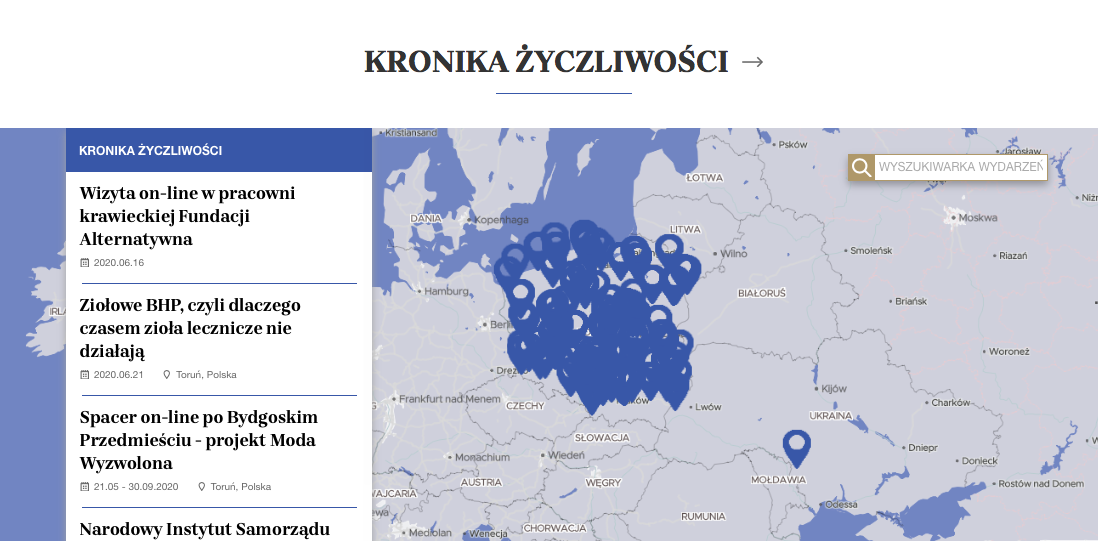 A print screen from the niepodlegla.gov.pl website with a map of events; pins on the map of Poland denote initiatives undertaken across the country