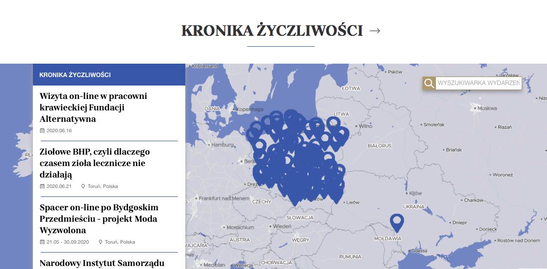 скриншот сайта niepodlegla.gov.pl с картой событий с кнопками, прикреплёнными к карте Польши, символизирующими количество инициатив, предпринятых по всей стране