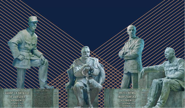 визуализация памятника в Скерневице Он представляет фигуры четырёх военачальников – Юзефа Пилсудского, Пала Телеки, Симона Петлюры иШарля де Голля