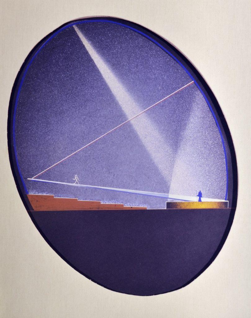 Enrico Prampolini (1894–1956) Projekt architektoniczny Teatru jajko na wystawę E–42, 1940–1941 tempera, karton, 72 × 69 cm kolekcja prywatna, Rzym