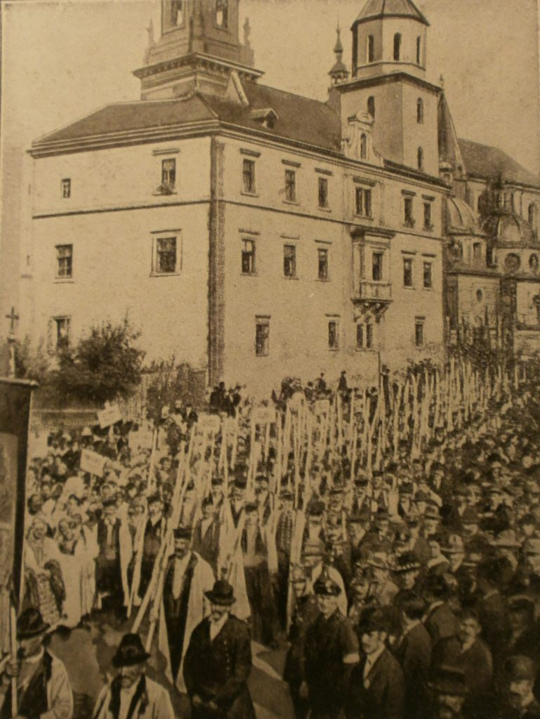 Protest przeciwko pokojowi w Brześciu Litewskim. Kraków, 16 lutego 1918 (domena publiczna)