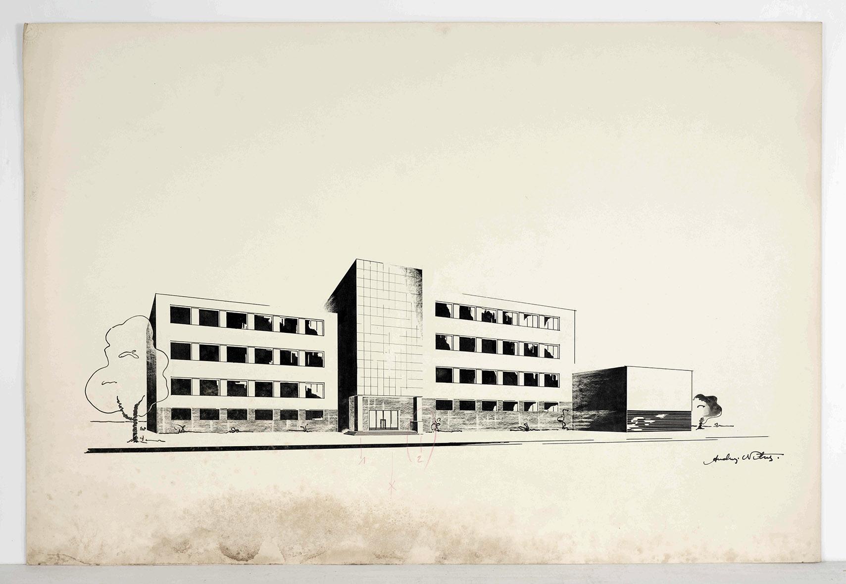Andrzej Nitsch, projekt siedmioklasowej szkoły żeńskiej, widok perspektywiczny, praca studencka, tusz, ołówek i kredka na zbiory Muzeum Architektury we Wrocławiu
