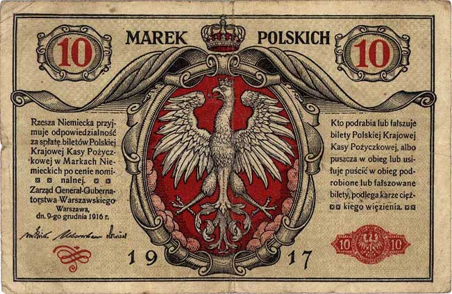 Marka polska obowiązująca na terenie Generalnego Gubernatorstwa Warszawskiego (domena publiczna)