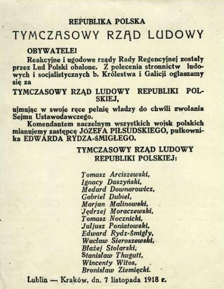 Afisz proklamujący powstanie Tymczasowego Rządu Ludowego Igancego Daszyńskiego (domena publiczna)