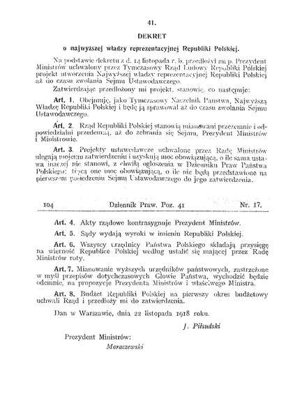 Dekret o władzy reprezentacyjnej (domena publiczna)