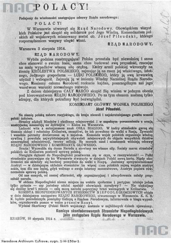 Odezwa Naczelnego Komitetu Narodowego (ze zbiorów Narodowego Archiwum Cyfrowego, sygn. 1-H-150a-1)