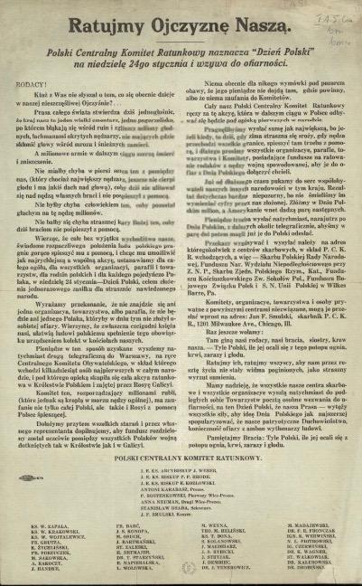 Odezwa Polskiego Centralnego Komitetu Ratunkowego (polona.pl, domena publiczna)