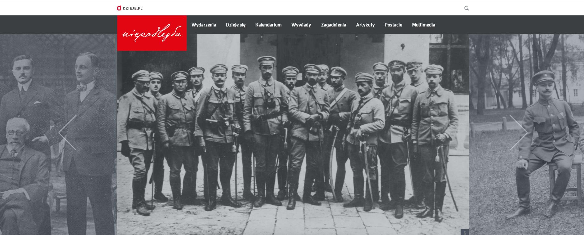 widok zakładki niepodległościowej portalu dzieje.pl