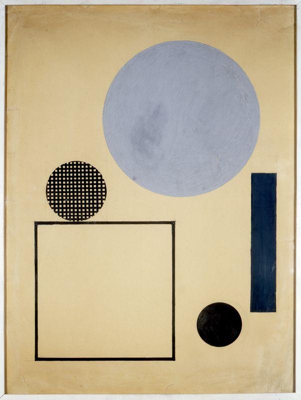"""Henryk Berlewi, """"Koło i kwadrat w przestrzeni"""", 1923, gwasz ; tusz ; ołówek na papierze, wym. 71 x 53 cm"""