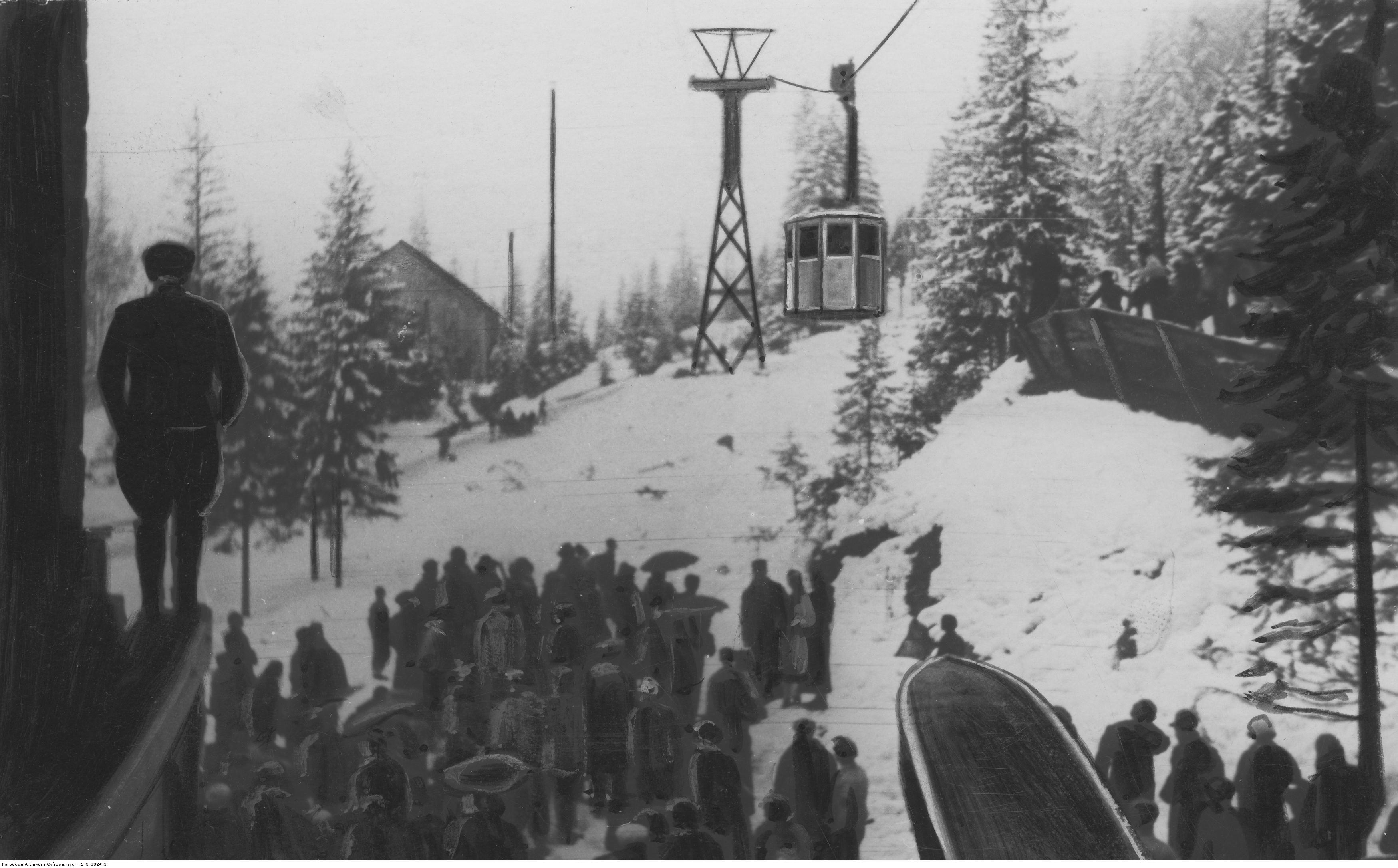 Jazda próbna kolejki linowej z Kuźnic na Kasprowy Wierch, wyjazd pierwszego wagonika z pasażerami ze stacji początkowej. Źródło: NAC.