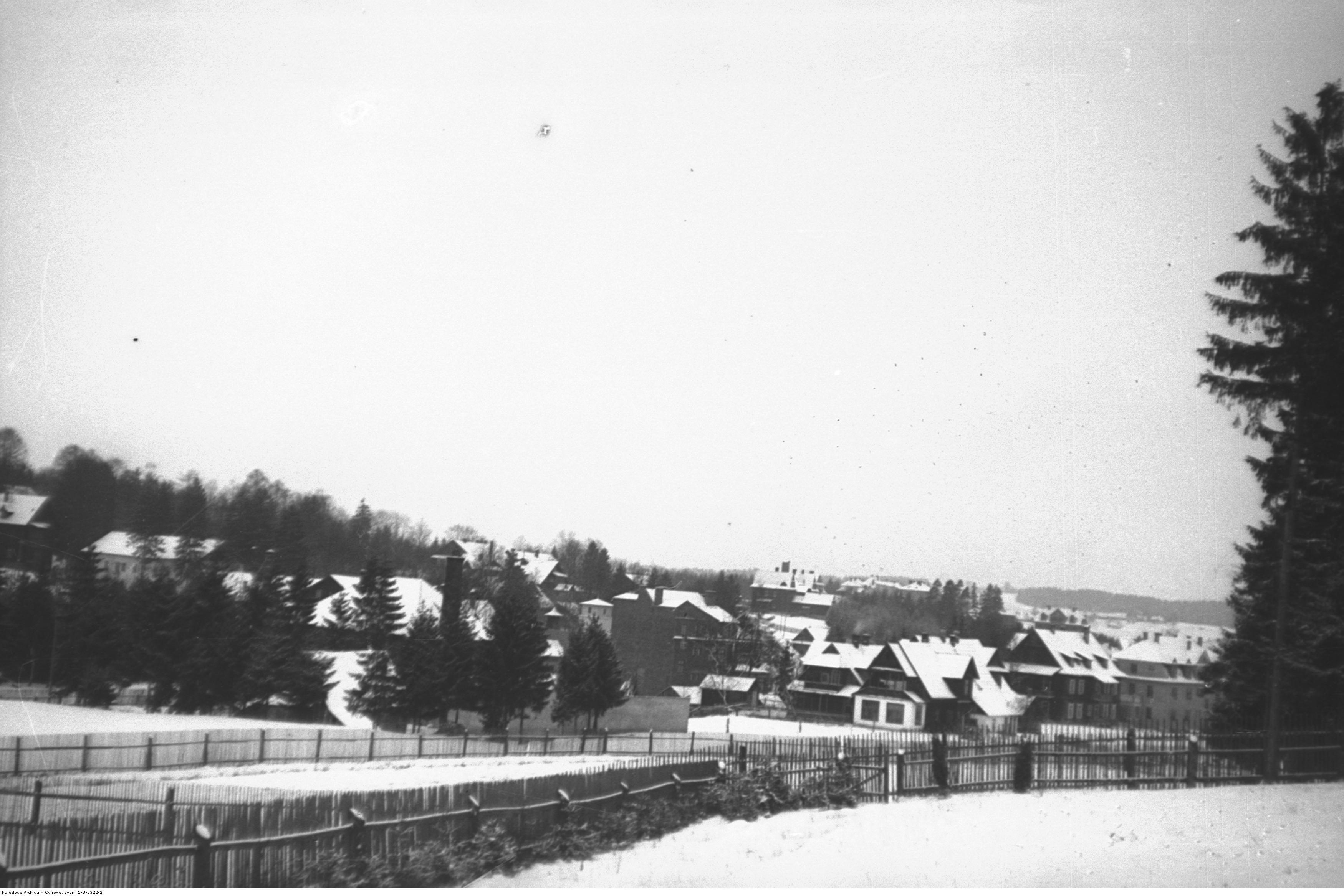 Rabka. Fragment miejscowości. Widok ogólny zimą. Źródło: NAC.
