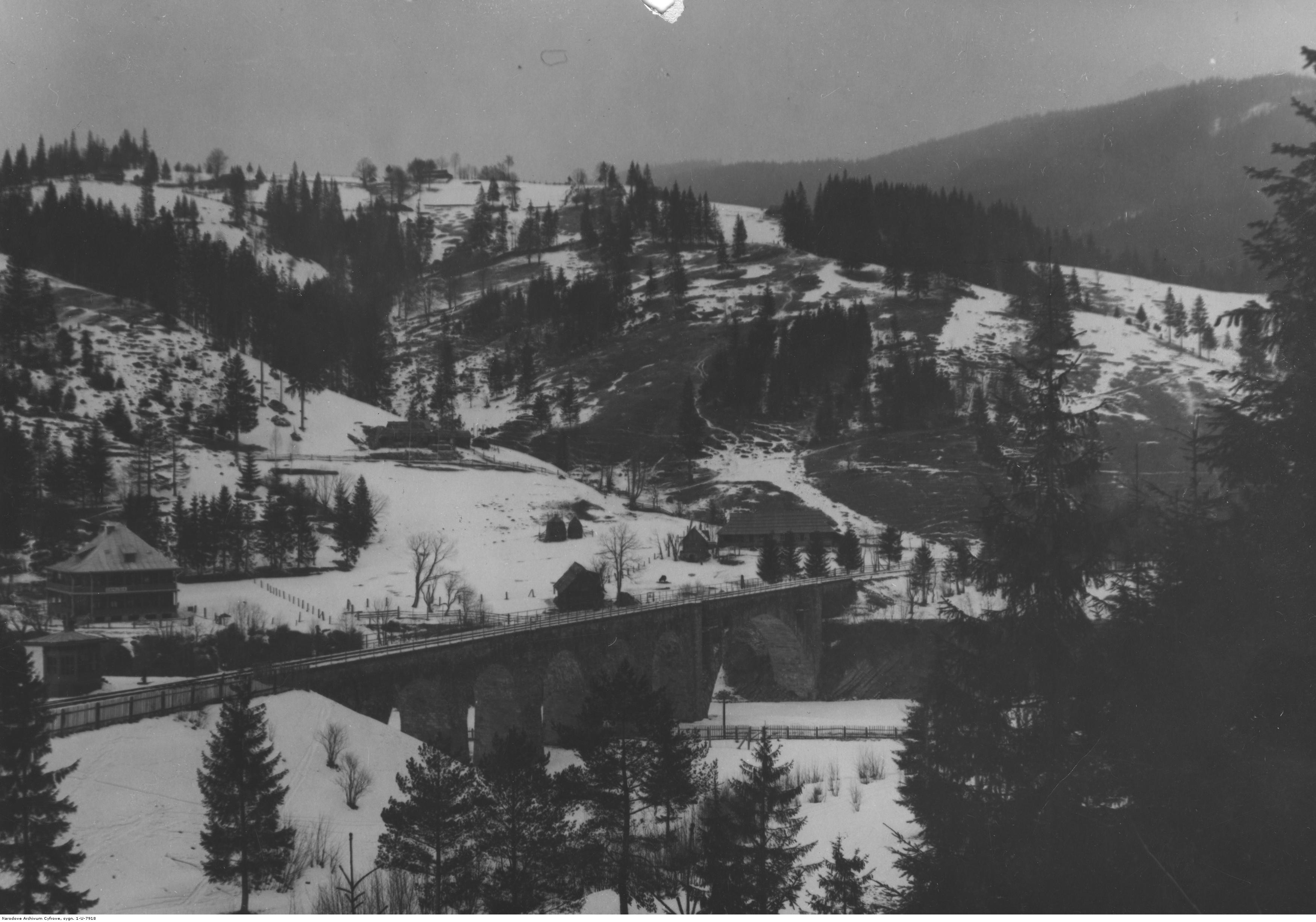 Panorama Worochty. Fragment miejscowości z widocznym na pierwszym planie wiaduktem kolejowym. Fotografia wykonana zimą. Źródło: NAC.