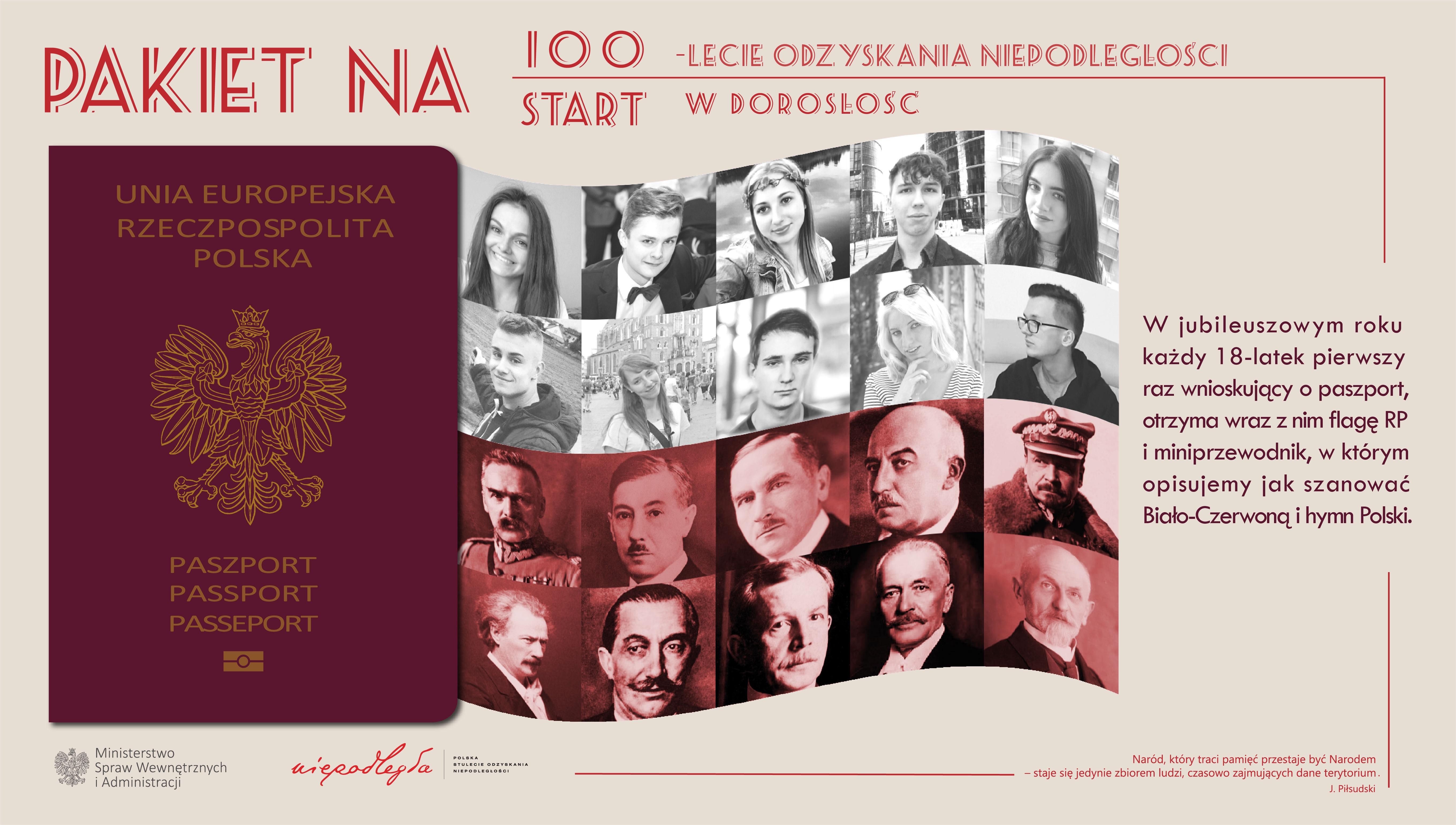 """Plakat akcji """"Pakiet na 100-lecie odzyskania przez Polskę niepodległości/start w dorosłość"""" """""""