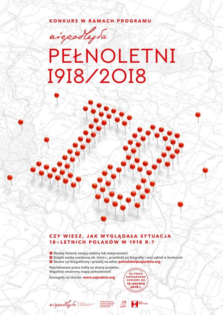 """Plakat konkursu """"Pełnoletni 1918/2018"""""""