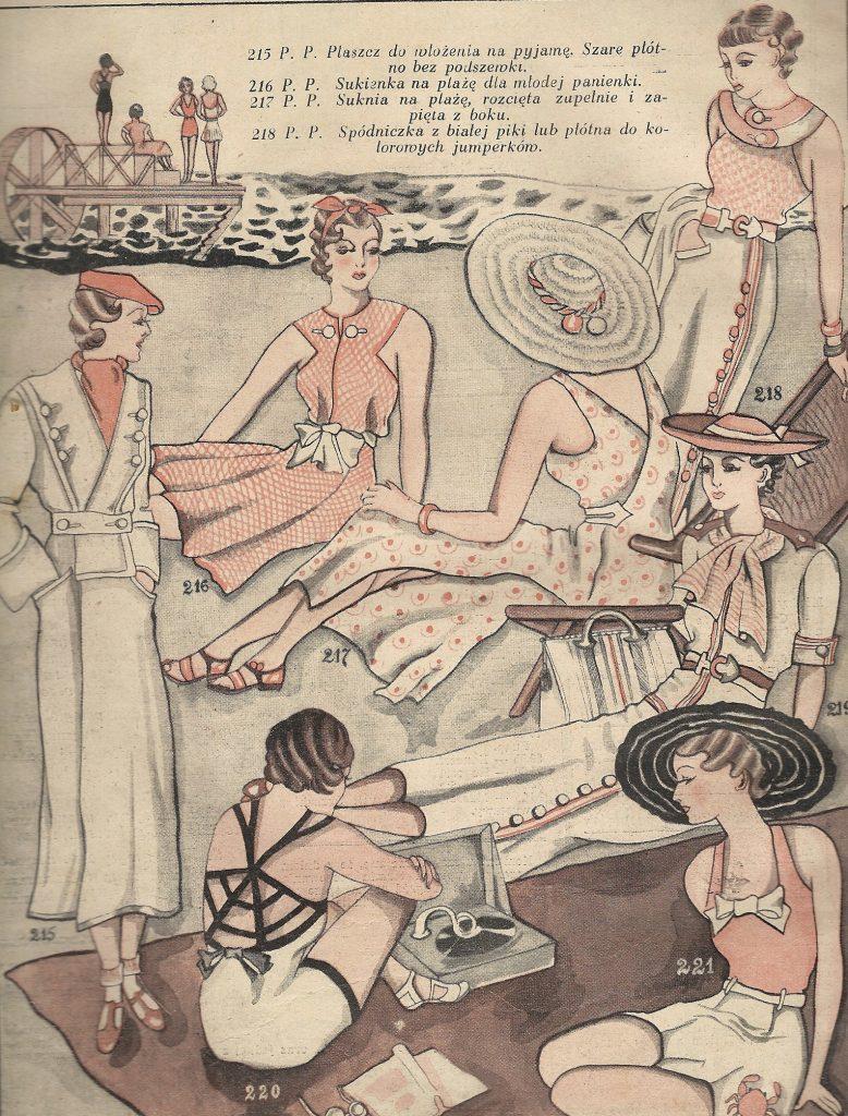 rysunki pań w różnych strojach plażowych