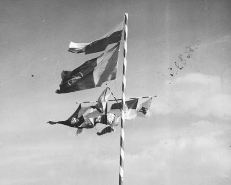 Flagi w barwach narodowych i proporczyki klubów widoczne podczas krajowych zawodów lotniczych 1938