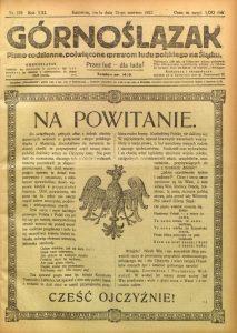 """Tytułowa strona gazety """"Górnoślązak"""""""