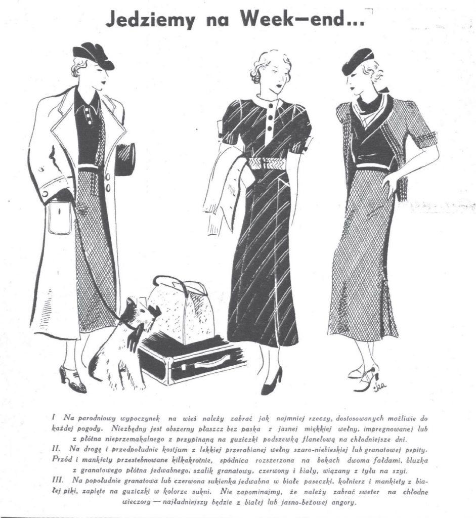 Trzy kobiety ubrane modnie pod napisem Jedziemy na week-end