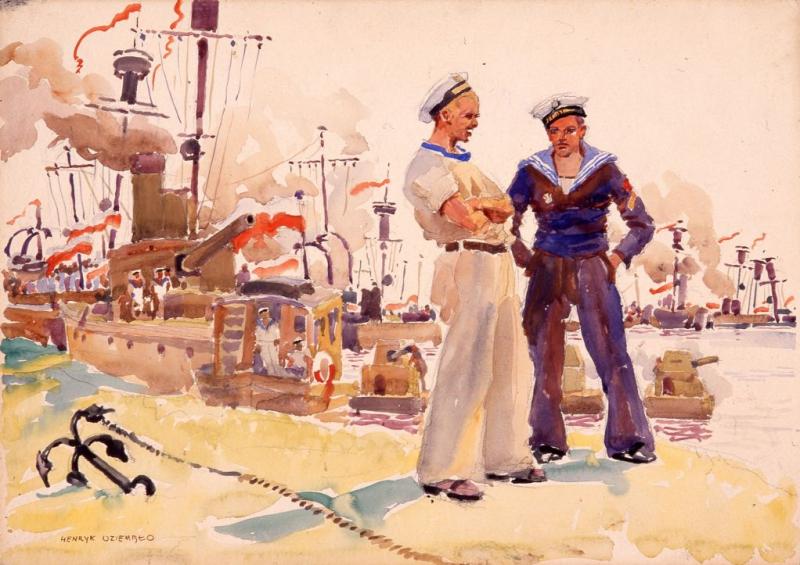 Obraz przedstawia dwóch marynarzy na tle kilku statków wojennych