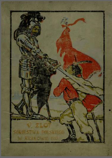 Okładka przedstawiająca rycerza i członka Sokołów z czerwonym sztandarem