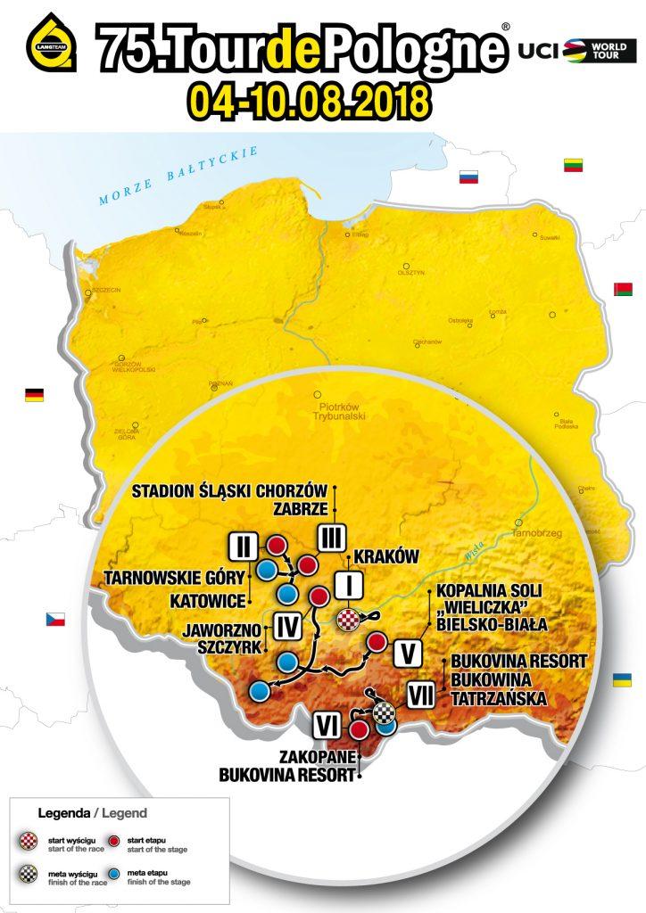 mapka z zaznaczonymi miejscowościami Touru