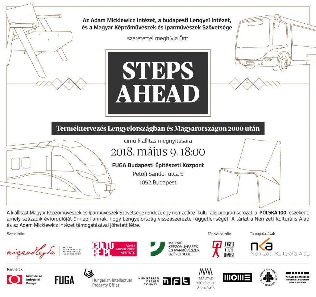 zaproszenie na wernisaż Steps Ahead po węgiersku