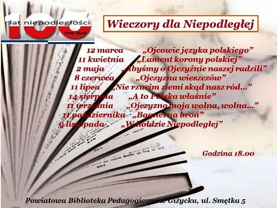 Plakat Wieczorów Literackich dla Niepodległej w Giżycku z harmonogramem