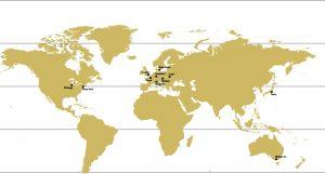 Mapa z zaznaczonymi 11 światowymi koncertami