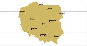Mapa z zaznaczonymi 11 polskimi koncertami