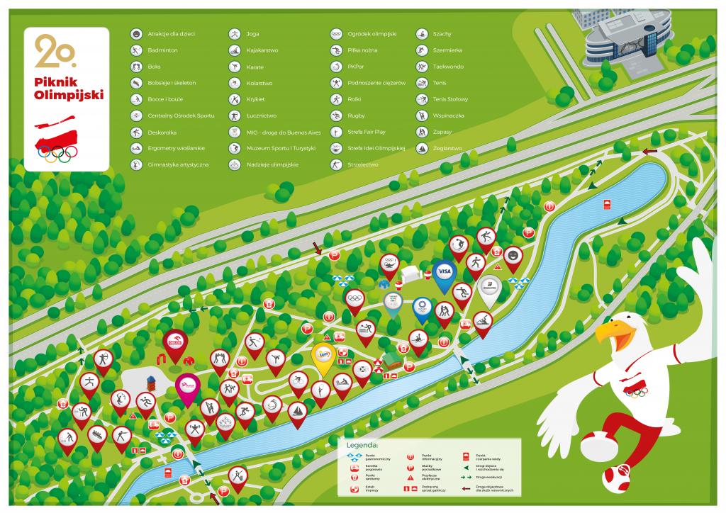 schematyczna Mapa 20. Pikniku Olimpijskiego