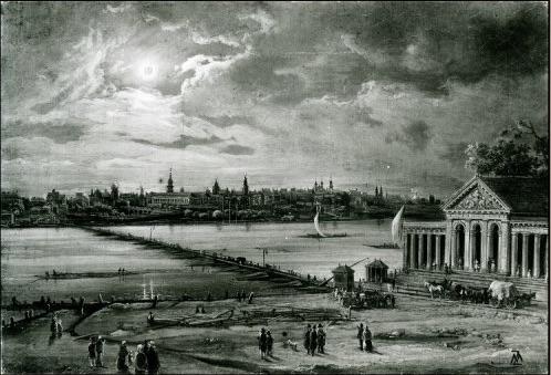 zdjęcie przedstawia czarno-biały obraz z widokiem na Warszawę