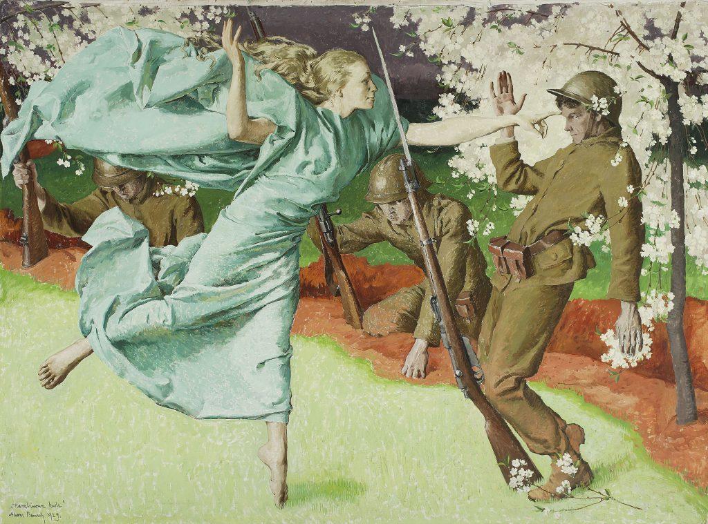 """obraz Adama Bunscha """"Karabinowa kula"""", żołnierze, alegoria kuli w postaci kobiety"""