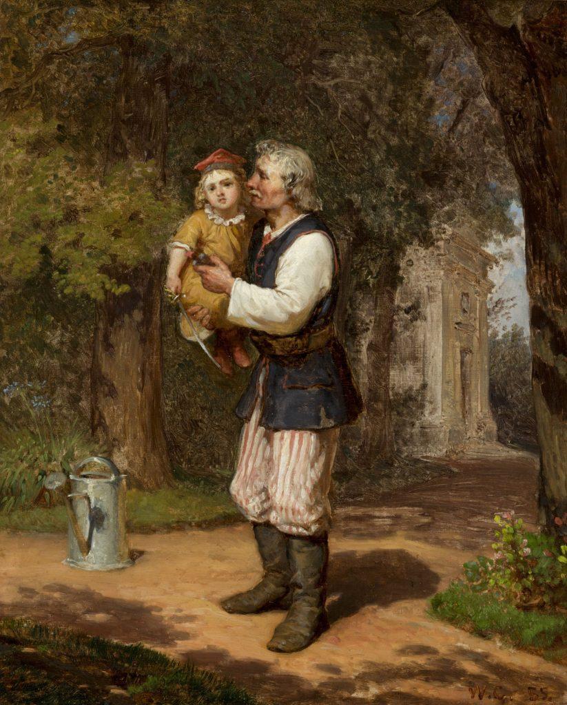 obraz przedstawiający ogrodnika trzymającego na rękach małego chłopca, konewka