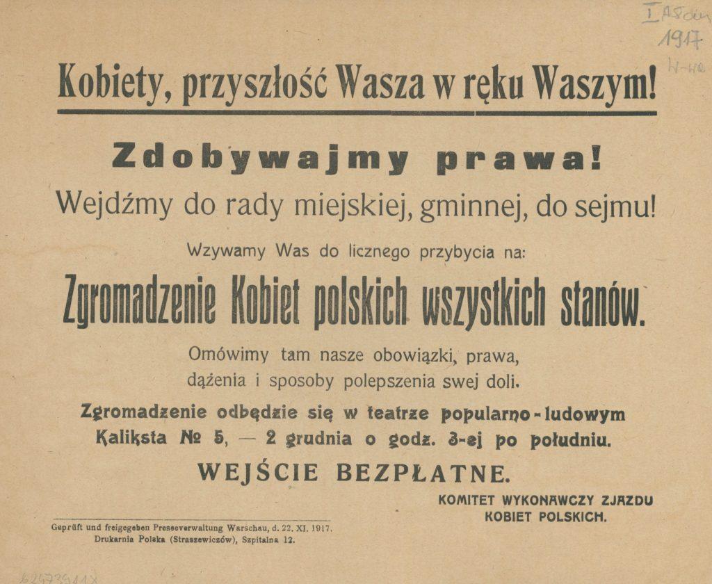 Ulotka Komitetu Wykonawczego Zjazdu Kobiet Polskich, 1917, Polona