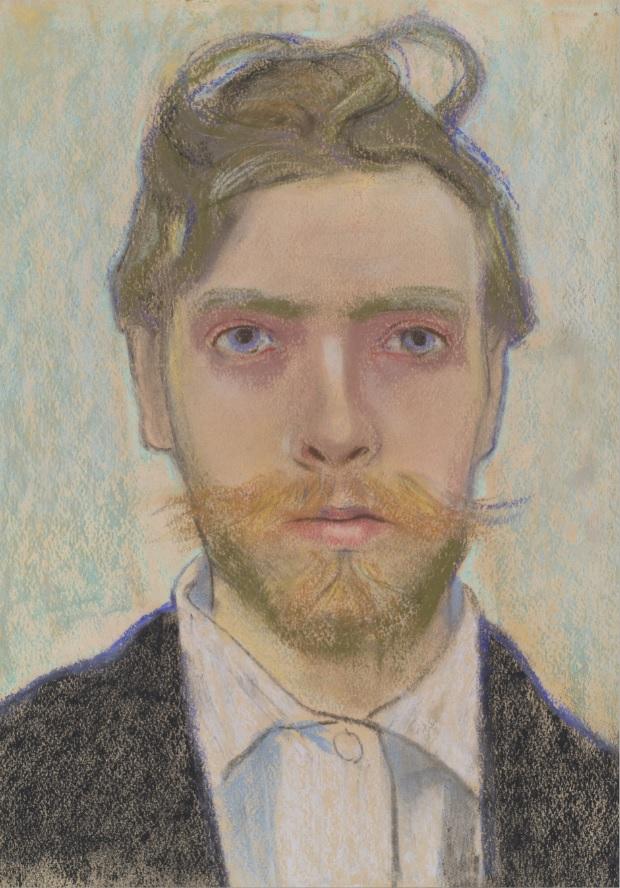 autoportret Wyspianskiego, namalowany mężczyzna patrzy na wprost
