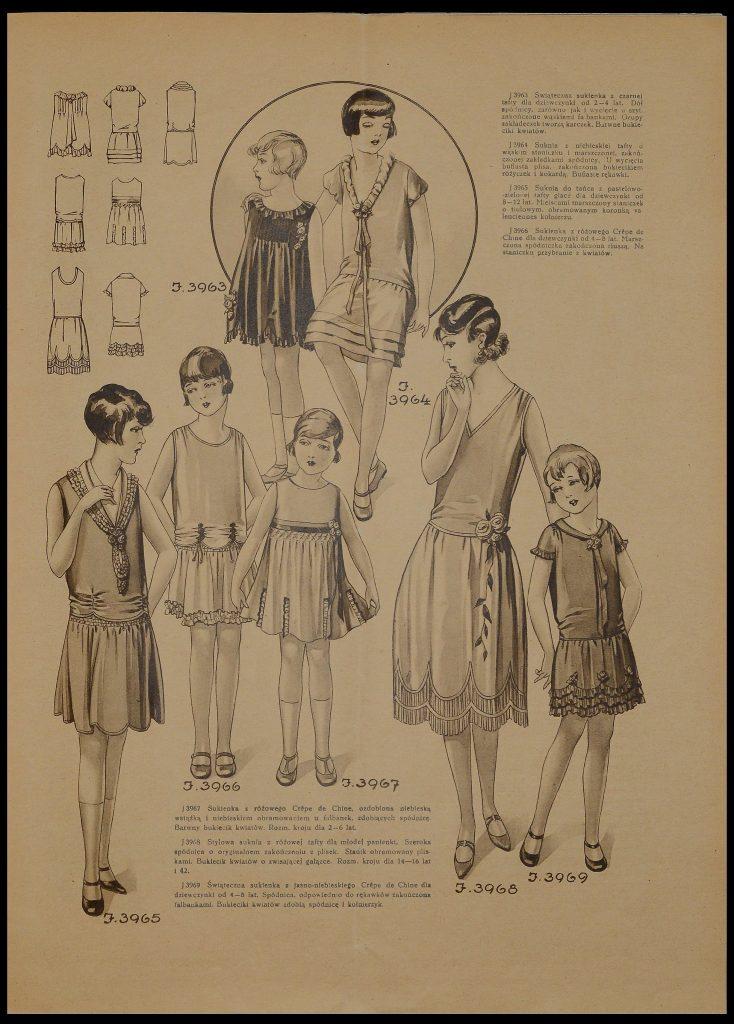 zdjęcie z czasopisma przedstawiające szkice z modą dla dziewcząt