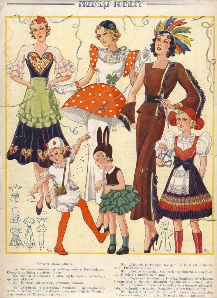 grafika z czasopisma przedstawiająca barwne stroje karnawałowe