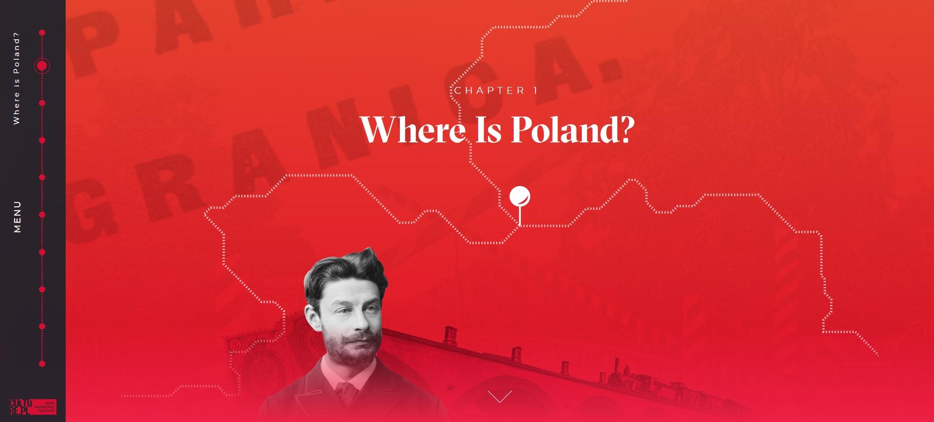 na czerwonym tle rozrzucone: sylwetka mężczyzny i fragment mapy