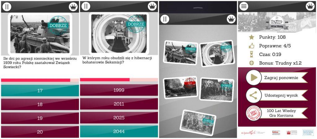 wizualizacje z gry w aplikacji mobilnej