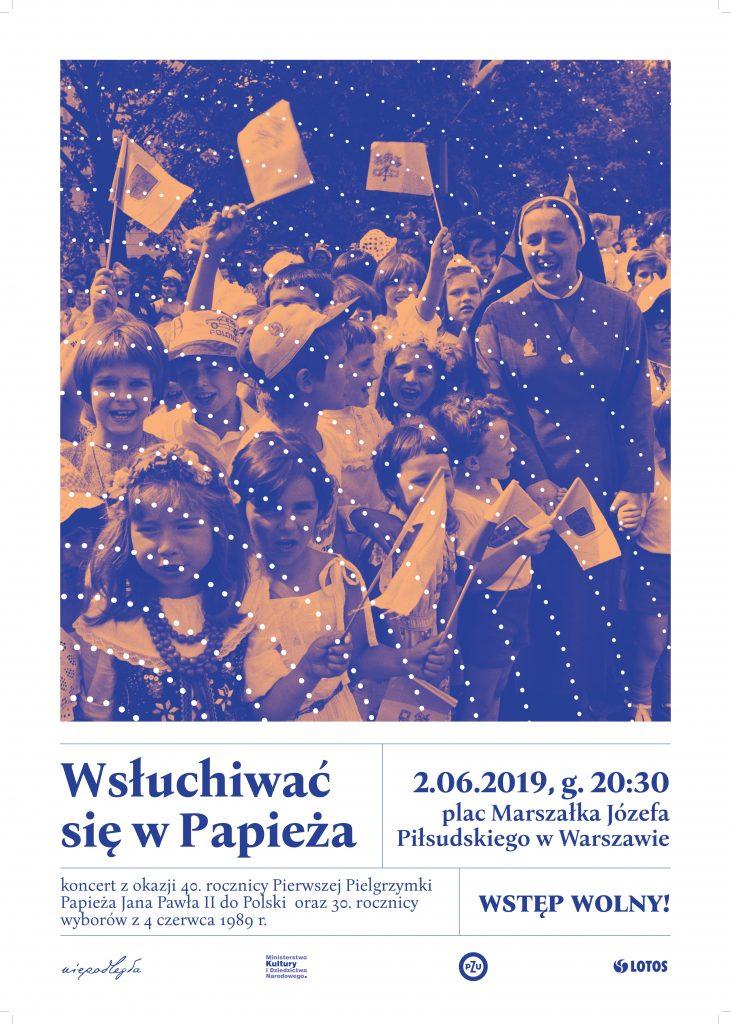 plakat złożony z tytułu koncertu, daty i dawnego zdjęcia na którym jest grupa radosnych dzieci i siostra zakonna
