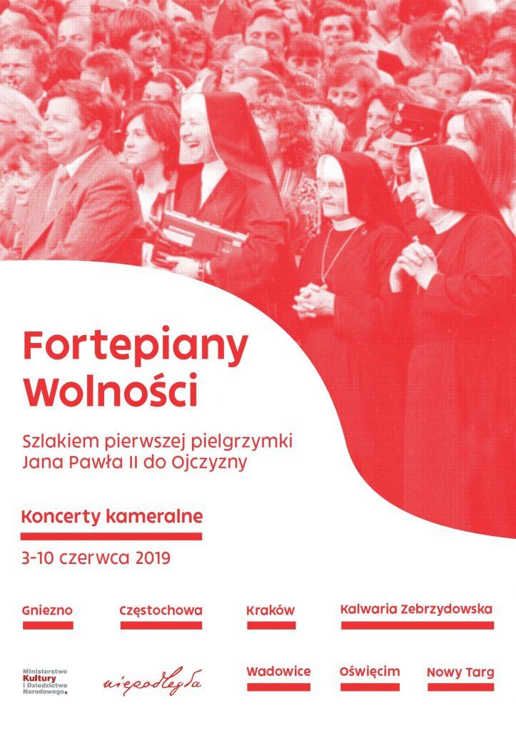 plakat ze zdjęciem zakkonic i informacjami o cyklu kameralnych koncertów, miejscowościami i logami