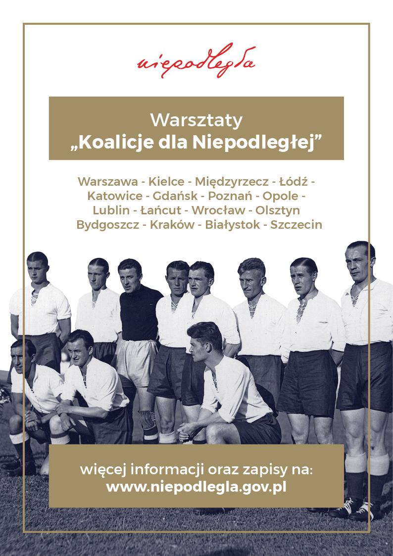 plakat ze zdjęciem polskich zawodników nad nim logo i tytuł warsztatów, wszystkie nazwy miejscowości, gdzie będą warsztaty, na dole w ramce informacje o zapisach i stronie internetowej