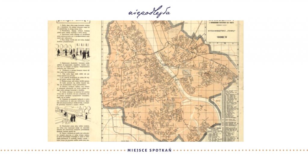 baner ze starą mapy warszawy