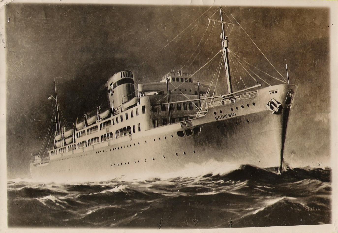 czarno-białe zdjęcie statku