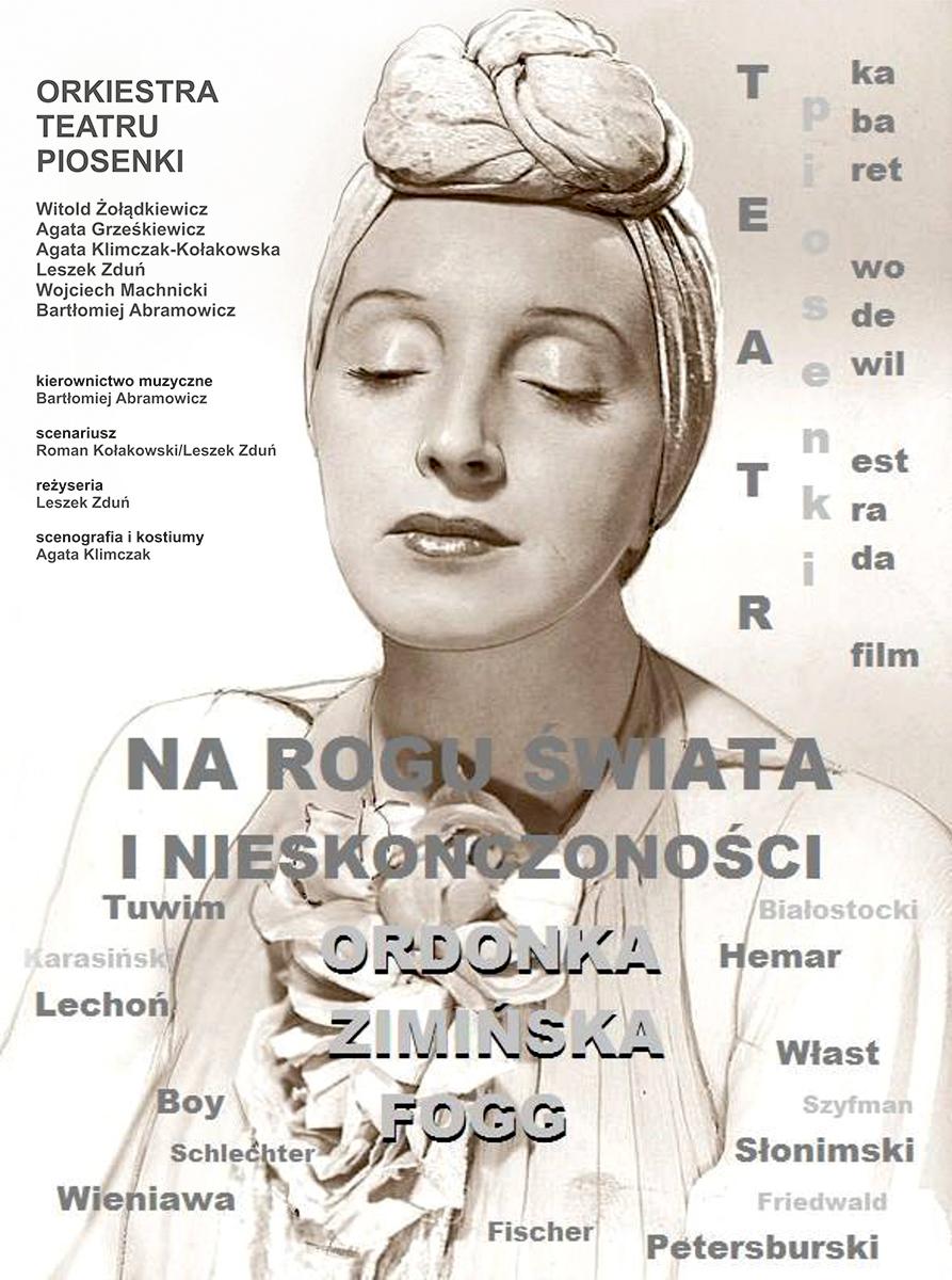 plakat z potrtetem kobiety z zamkniętymi oczami, wokół niej rozłożone informacje o wydarzeniu i artystach