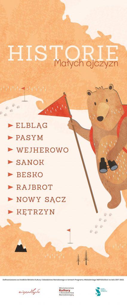 plakat z konturem polski, misiem z lornetką i flagą, tytułem projektu, miejscami warsztatów i na dole logo instytucji zaangażowanych