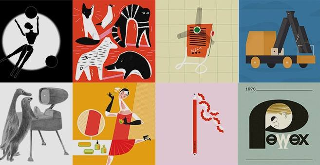 grafika przedstawiająca 8 miniatur logo i przedmiotów