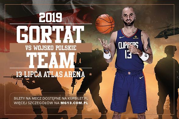 plakat zapraszający na charytatywny mecz koszykówki, Marcin Gortat